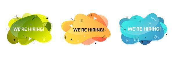 Wir stellen Banner ein. Hire Zeichen. Suche nach neuem Jobkonzept. Abstrakte flüssige Form. Fließendes Design.