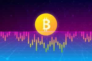 Bitcoin Hintergrund. Finanzdiagramm, Bitcoin-Münze, futuristischer Hintergrund mit Wachstumstabellen