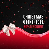 Roter Weihnachtsverkaufshintergrund mit Schneeflocken, Konfettis, Bogen und abstrakten Wellen
