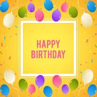Bunter Geburtstagshintergrund mit Ballonen und Konfettis vektor
