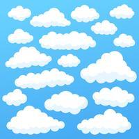 Tecknade moln isolerade på blå himmel panorama samling. Cloudscape i blå himmel, vit moln illustration