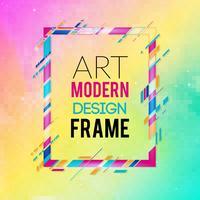 Vektorrahmen für Grafiken der modernen Kunst des Textes. Dynamischer Rahmen mit stilvollen bunten abstrakten geometrischen Formen um ihn auf einem Steigungshintergrund. Trendige Neon-Farblinien in modernem Design.