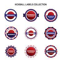 Kickball-Etiketten und Abzeichen vektor