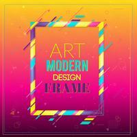 Vektorram för text Modern konstgrafik. Dynamisk ram med stilfulla, färgglada abstrakta geometriska former runt den på en gradientbakgrund. Trendiga neonfärglinjer i modern designstil.