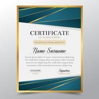 Zertifikatschablone mit elegantem Luxusdesign des goldenen und Türkises, Diplomdesignstaffelung, Preis, Erfolg Auch im corel abgehobenen Betrag.