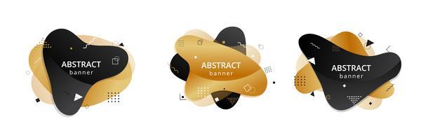 Guld och svart abstrakt flytande form. Vätskedesign. Isolerade gradientvågor med geometriska linjer, prickar