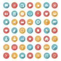Platt ikoner samling med lång skugga