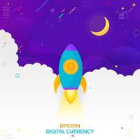 Illustration der Rakete fliegend über Wolken mit bitcoin Ikone. Konzept der Kryptowährung. Rakete fliegt zum Mond mit Bitcoin-Symbol. Kryptowährungs-Übertreibung-Vektorillustration.