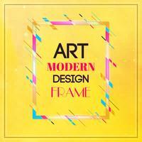 Vektorram för text Modern konstgrafik. Dynamisk ram med stilfulla färgrika abstrakta geometriska former runt den på en gul bakgrund. Trendiga neonfärglinjer i modern designstil.
