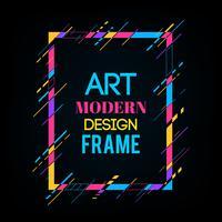 Vektorram för text Modern konstgrafik. Dynamisk ram med stilfulla färgrika abstrakta geometriska former runt den på en svart bakgrund. Trendiga neonfärglinjer i en modern materialdesignstil.