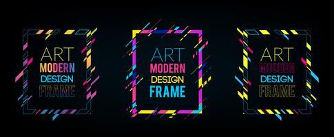 Vektorrahmen für Grafiken der modernen Kunst des Textes. Dynamischer Rahmen mit stilvollen bunten abstrakten geometrischen Formen um ihn auf einem schwarzen Hintergrund. Trendige Neon-Farblinien in modernem Materialdesign.