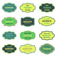 Grüne Abzeichen und Etiketten gesetzt