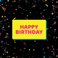Grattis på födelsedagen kort med konfetti på svart bakgrund. vektor