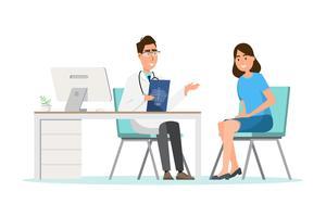 Medicinsk koncept. läkare med kvinna patient i platt tecknad på sjukhus hall