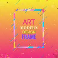 Vektorrahmen für Grafiken der modernen Kunst des Textes. Dynamischer Rahmen mit stilvollen bunten abstrakten geometrischen Formen um ihn auf einem Steigungshintergrund. Trendige Neon-Farblinien in modernem Design. vektor
