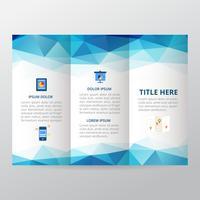 Blaue geometrische dreifachgefaltete Broschüre, Geschäftsbroschürenschablone, Tendenzbroschüre.
