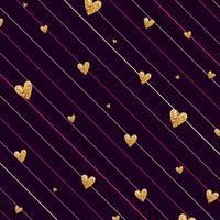 Nahtloses Muster der Goldfunkelnden Herzkonfettis auf gestreiftem Hintergrund