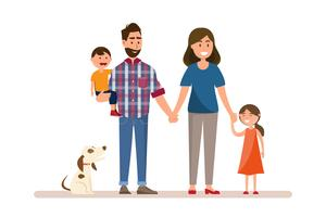 Glad familj. Far, mamma, älskling, son och dotter.