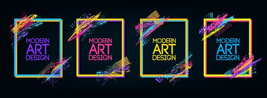 Vektorrahmen für Grafiken der modernen Kunst des Textes für Hippies. dynamischer Rahmen stilvoller geometrischer schwarzer Hintergrund. element für das design von visitenkarten, einladungen, geschenkkarten, flyern und broschüren. vektor