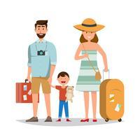 Glad familj. Far, mor och son tillsammans med sommartur