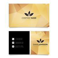 Goldgeometrische Visitenkarte. Moderne einfache Visitenkartevektorschablone. Kreative und saubere doppelseitige Visitenkartenvorlage. Flaches Design-Vektor-Illustration. Briefpapier-Design