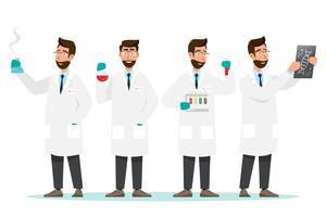 medizinisches Konzept. Wissenschaftler bemannen Forschung in einem Laborlabor vektor