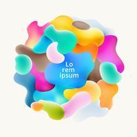 Sammanfattning vätska färgstarka bubblor former överlappar på vit bakgrund.