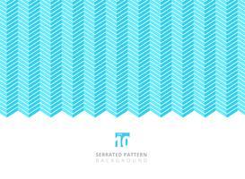 Abstrakt vit färg serrated linjer mönster på blå bakgrund med kopia utrymme.