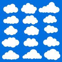 Gesetzte weiße Farbe der Wolkenvektor-Ikone auf blauem Hintergrund.