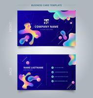 Schablonen-Visitenkarte und bunte Plastikformen der Namenkarte mit geometrischem auf blauem Hintergrund.