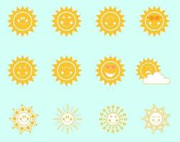 Söt Smiley Suns Vector Pack