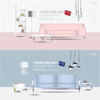 2 Fahnen-Möbel-Verkaufs-Design-Schablonen-Vektor-Illustration