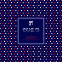 Abstrakt röd och vitt stjärnmönster på blå bakgrund, amerikanska flaggan.