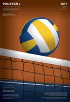 Volleyball-Turnier-Plakat-Schablonen-Design-Vektor-Illustration