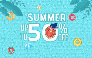 Draufsicht der Sommerpoolparty. Verkaufs-Werbungsdesign der Sommerzeit heißes mit Mädchen auf Gummiring im Swimmingpool.