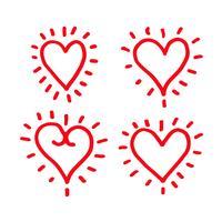 Hand zeichnen Herzen Icondesign vektor