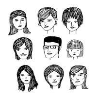 Leute stellen Karikaturikone gegenüber vektor