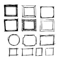 Hand gezeichnete Tintenskizzenlinie Rahmen vektor