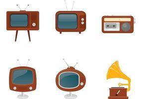 Retro Radio-, TV- und Plattenspieler-Vektoren