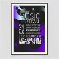 Vektor musikfestival affischmall