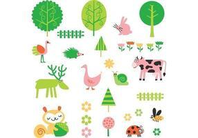 Nette Karikatur-Pflanze und Tiervektor-Satz