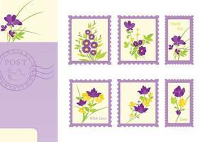Blumen-Postkarte und Stempel-vektor-Satz