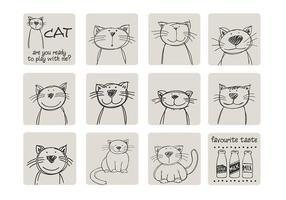 Handdragen kattvektorpaket