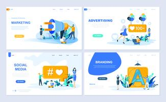 Set med målsida mall för digital marknadsföring, annonsering, sociala medier, branding. Modern vektor illustration platt koncept dekorerade människor karaktär för webbplats och mobil webbutveckling.