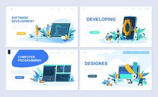 Set med målsida mall för Programvara, Utveckling, Designer, Programmering. Modern vektor illustration platt koncept dekorerade människor karaktär för webbplats och mobil webbutveckling.