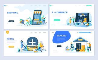 Set med målsida mall för Online Shopping, E-handel, Retail, Internet Banking. Modern vektor illustration platt koncept dekorerade människor karaktär för webbplats och mobil webbutveckling.