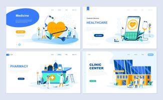 Set med målsida mall för medicin, sjukvård, apotek, klinikcenter. Modern vektor illustration platt koncept dekorerade människor karaktär för webbplats och mobil webbutveckling.