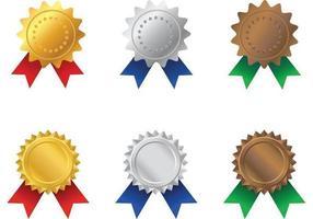 Gold, Silber und Bronze Rosette Award Vektoren
