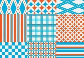 Orange und blauer geometrischer Vektormuster-Satz