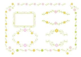 Rosa och grönt blommigt prydnad vektorpaket vektor